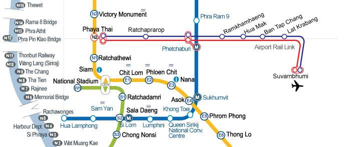 Метро Бангкока. Схема метро